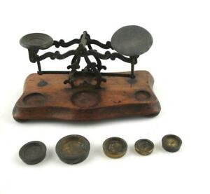 Antique Wooden Postal Scales  Brass Weights