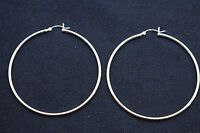 """2 3/8"""" 2mm X 60mm Plain Polished Round Hoop Earrings Real 925 Sterling Silver"""