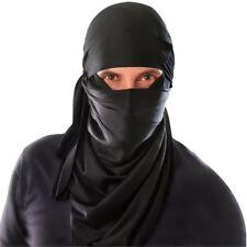 Ninja Warrior Black Hood Headpiece Mask Martial Arts Adult Fancy Dress Costume