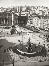 1934 Vintage 11x14 PORTUGAL Lisbon Rossio Square Fountain Architecture Photo Art