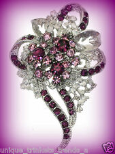 VINTAGE STYLE RED HAT LADY SOCIETY ROYAL PURPLE CRYSTAL FLOWER BROOCH PIN GIFT