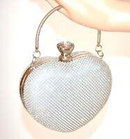 BOLSO CLUTCH bag plata mujer strass corazón elegante novia ceremonia fiesta E95