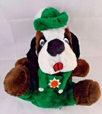 """Vintage S.O.S. Puppy Dog Plush in Green Overalls & Hat Sits 10"""" SOS"""