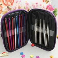 22pcs Multi-color Metal Crochet Hooks Yarn Bearded Needles Set Kit with Case-B