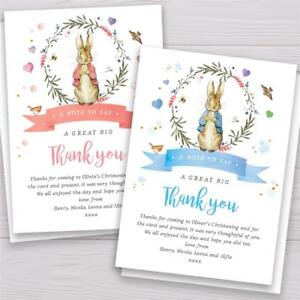 10 Personalised Peter Rabbit Christening Baptism Party Thank you cards notes