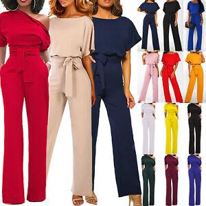 UK Womens Casual Wide Leg Jumpsuit Ladies Evening Party Long Playsuit Size 6-18