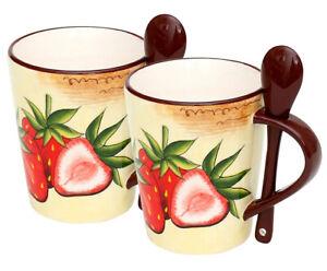 Dolomite Kaffeebecher 2x Tasse mit  Erdbeere 10 cm 226377 Mug 250 ml