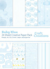 24 Sheets A5 (155mm X 215mm) Blue Baby Boy Baby Mix - Craft Creations