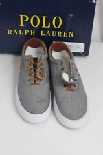 Polo Ralph Lauren Vaughn Grey Chambray Canvas Fashion Sneakers 7.5D Laces Shoes