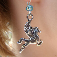 Silver Pegasus and Swarovski bead Earrings on 925 Sterling Silver Hooks