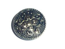 Wonderful Flower Czech Glass Round Black Shank Button w/ Gold Finish 32mm
