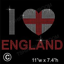 'I love England' Rhinestone/Diamante Transfer Hotfix Iron on Motif + Free Gift