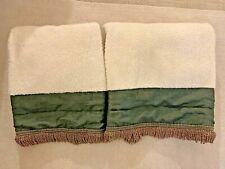 "SET OF 2 LARGE CROSCILL HOME FASHION BATH SHEETS TOWELS CREAM & GREEN 27"" x 50"""