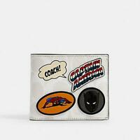 COACH MARVEL 3-IN-1 WALLET IN SIGNATURE CANVAS WITH PATCHES Spider-Man White NEW