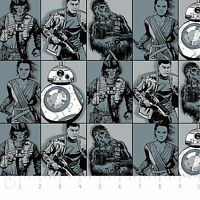STAR WARS THE FORCE AWAKENS Heroes in Squares 100% cotton fabric by the yard