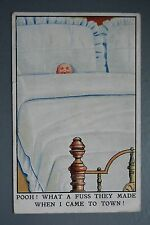 R&L Postcard: Baby Head in Bed, Pooh What a Fuss They Made....