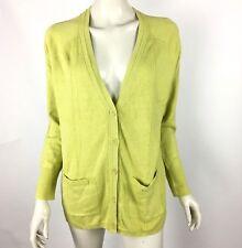 Eddie Bauer Green Button Front Cardigan Linen Cotton Thin Knit Women Large NWOT
