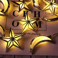 10X Ramadan Eid Mubarak LED String Fairy Lights Muslim Islamic Home Decor Star
