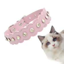 Adjustable Dog Collar Bling Crystal With Bone Necklace Pet Cat Leather Necklace~