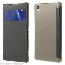 Case Grey Eco leather S-View Portfolio for Sony Xperia Z2 - FLIP Cover Case