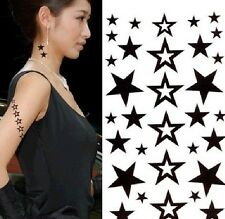Removable Waterproof Temporary Tattoo Body Stickers ~Black Stars~ 1pc:)