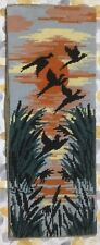 Vtg Completed Moden Needlepoint Tapestry Birds In Flight Silhouette By The Sun