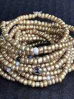 Glass Bead Stretch Bracelets SIZE SMALL Lot Of 14 Gold Metallic Handmade NEW