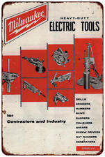Milwaukee Electric Power Tools Workshop Ad Reproduction metal sign 8 x 12