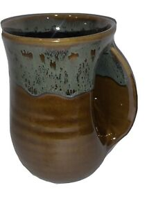 NEW NEHRER Clay In Motion Hand Warmer Mug Cup Brown Glaze 2014 Right Hand SIGNED