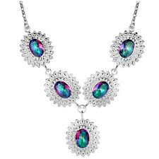 Oval Rainbow Mystic Topaz In Vintage Style Silver Plated Pendant Necklace