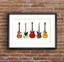 Famous Blues Rock Guitars - POSTER PRINT A1 size