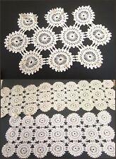 Antique Crochet Lace Pinwheel Circle Runner Scarf 3pc Lot Excellent Ecru White