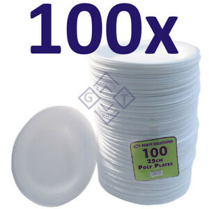 """100x White Foam Plates 23cm Disposable Catering Parties Party Supplies Food 9"""""""