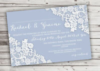 PERSONALISED RUSTIC DUSKY BLUE LACE WEDDING INVITATIONS PACKS OF 10