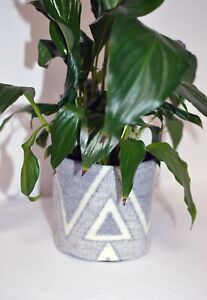 4 inch Planter Pot Diamond Ridge WOOL fabric house plant gift herb garden window