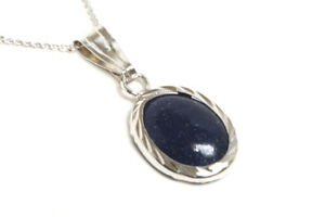 9ct White Gold Lapis Lazuli Pendant Oval Necklace and Chain Gift Boxed UK Made