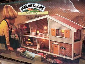 CAROLINE'S HOME DOLLS HOUSE BARTON TOYS 1970 & ORIGINAL FURNITURE & BOX  LUNDBY