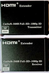 NEW Latest HD EXT HDMI Over CAT 5e/6 Extender Full HD 1080p 60m With IR Control