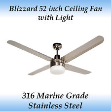 Blizzard 52 inch Marine Grade Stainless Steel Outdoor Ceiling Fan with Light