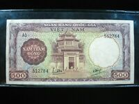 VIETNAM SOUTH 500 DONG 1964 VIET NAM PINHOLES SHARP 84# Currency Money Banknote