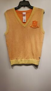 Womens Puma Golf 100% Wool Sweater Vest Peach/Orange & Yellow Size M