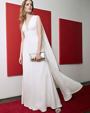 NWT $325 Jill Jill Stuart Sleeveless V-Neck Cape Gown in Off White - Size 8!