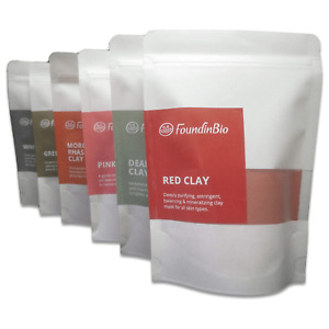 Natural Clay Powder Face Mask Green White Kaolin Red Pink Rhassoul Dead Sea