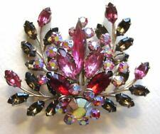 Vintage Brooch Pin Aurora Borealis Red, Watermelon Pink, Amber Brown, Rhinestone