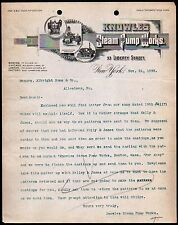 1898 Knowles Steam Pump Works - Fire Electric Pumps - New Yourk - Letter Head