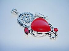 """AB Red Coral Garnet Biwa Pearl One-of-a-Kind Pendant Necklace Silver 3.25"""""""