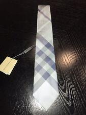 New Authentic Burberry Nova Check Plaid Logo Men Tie Haymarket Blue Slim $190