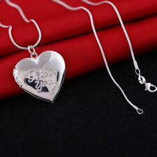 Pure 925 Sterling Silver Heart I Love You Locket Necklace (Pendant + Chain)