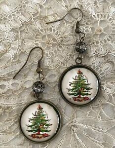 SPODE CHRISTMAS TREE Picture GLASS DOME Dangle EARRINGS China Pattern Jewelry