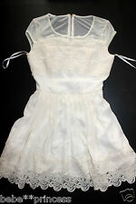 NWT bebe ivory white lace cutout back mesh flare sexy top dress S Small party
